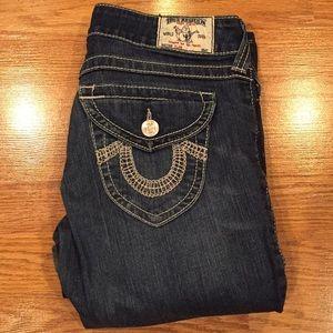 TRUE RELIGION Dark Wash Stitched Flare Denim Jeans